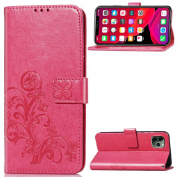PU Leather Embossing Case Flip Stand Holder Wallet Card Case for iPhone 11 Pro Max - Hot Pink.