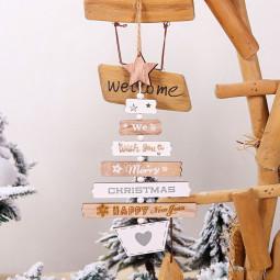 Christmas Decor Wooden Letter Pendant Hanging Door Decorations Xmas Tree Home Party Ornaments - Original Color