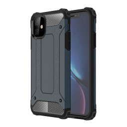 Heavy Duty Hard Metal Back Case Rugged Armor TPU + PC Combination Phone Case Shockproof Case for iPhone 11 - Navy