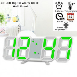 8 Shaped 3D USB Digital Table Clocks Wall Clock Led Time Display Watches 24 Hour Display Alarm Home Decoration - Green