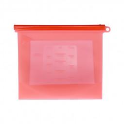 1000ml Reusable Silicone Food Storage Bag Kitchen Fresh-keeping Sealed Bag Eco Friendly Reusable Bag - Red