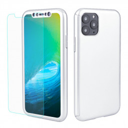 Full Coverage 360 Degree Phone Cover Hard Thin Slim Case with Screen Protector for iPhone 11 Pro - Silver