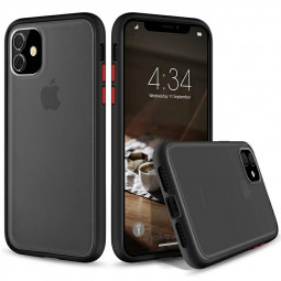 Matte Texture Frosted Back Cover Soft TPU Frame Phone Case Shockproof Fitted Case for iPhone 11 - Black