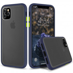 Soft TPU Frame Phone Case Frosted Back Cover Scratch Resistance Matte Case for iPhone 11 Pro - Blue