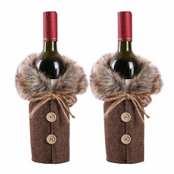 Fancy Santa Claus Outfit Christmas Bownot Wine Bottle Bag Cover Table Decor Merry Xmas Bag Cover - Grey