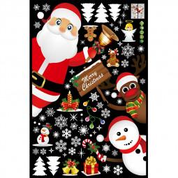 Christmas Snowman Snowflake Santa Deer Tree Wall Decal PVC Xmas Window Glass Sticker