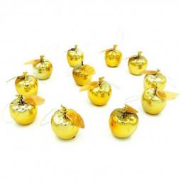 12 PCS Gold Plated Christmas Apple Pendants for Christmas Tree Decor Xmas Tree Hanging Ornaments - Gold