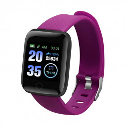 116plus Smart Watch Color Screen Sport Monitor Measure Heart Rate Blood Pressure Blood Oxygen Bluetooth Watch - Purple