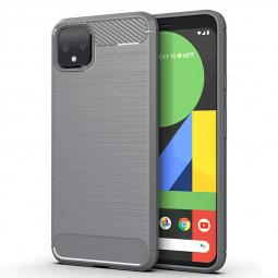 Carbon Fiber Case Satin Phone Cover Soft TPU Bumper Shockproof Case for Google Pixel 4XL - Grey