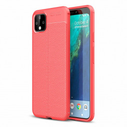 Flexible TPU Bumper Back Case Silicone Grainy Phone Cover for Google Pixel 4XL - Red