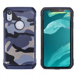 Camouflage Back Case Soft Silicone Frame and Hard PC Phone Case Fitted Phone Cover for iPhoneXR - Blue