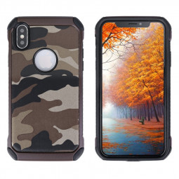 Soft Silicone Frame and Hard PC Phone Case Camouflage Back Case for iPhone X/XS - Brown