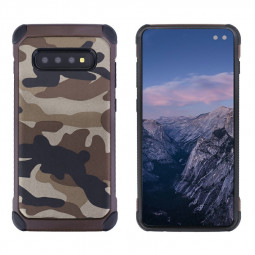 Soft Silicone Frame and Hard PC Fitted Phone Cover Camouflage Back Case for Samsung Galaxy S10 Plus - Brown