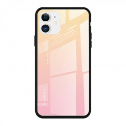 Soft TPU Edge Shockproof Back Case Tempered Glass Gradient Case with Soft Frame for iPhone 11 - Yellow Pink