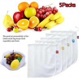 5 Packs Portable Kitchen Mesh Bag Vegetable and Fruit Net Drawstring bag Polyester Mesh Organizer Bag
