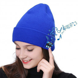 Fashion 4.2 Bluetooth Hat Electronic Kinnited Beanie Hat Hands-free Call for Men and Women - Blue