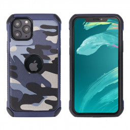 Camouflage PC Hard Back Case Shockproof Cover Protective Soft Silicone Frame Case for iPhone 11 Pro - Blue