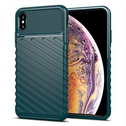 Soft Silicone Simple Phone Case Flexible Back Cover Textured Mobile Phone Shell for iPhone XS Max - Green