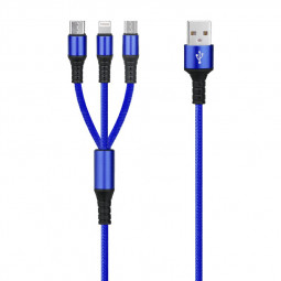 3 in 1 Portable Type C Micro USB and 8pin Multifunctional USB Charging Cable - Blue
