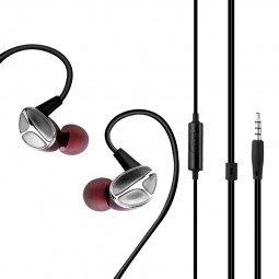 3.5mm Wired Control In-ear Earphone Creative Special Design Headphones Music Earbuds with Mic - Red