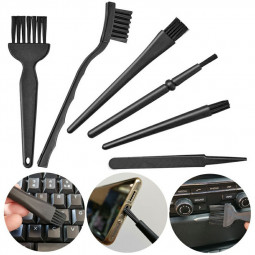 6 in 1 Black Plastic Nylon Anti Static ESD Brush and Tweezers Tool Set for Cleaning Keyboard