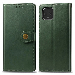 PU Leather Wallet Case Full Wrap Phone Cover Flip Stand Cover with Magnetic Buckle for Google Pixel 4 XL - Green