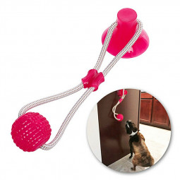 Flexible Pet Molar Bite Toy Multifunction Floor Suction Cup Dog Chew Ball Pet Toy Cleaning Teeth - Red