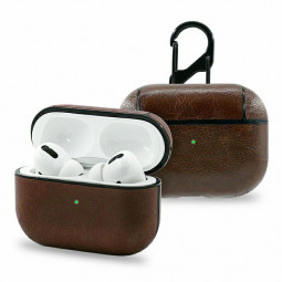 AirPods Box PU Leather Shockproof Case Cover Protective Cover with Keychain Hang for AirPods 3 - Coffee