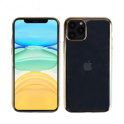 Soft TPU Skin Silicone Protective Case Plated Frame Back Cover for iPhone 11 Pro - Gold