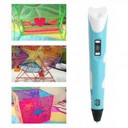 EU 3D Pen Printer Stereoscopic Printing Pen 3D Pen Set for with 1.75mm PLA - Blue
