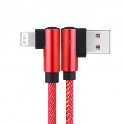1m 90 Degree Elbow 8pin Jean Fabric Braided Cable Quick Charging Cable - Red