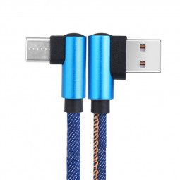 1m 90 Degree Elbow Jean Fabric Braided Type C USB 3.1 Cable Quick Charging Cable - Blue