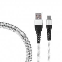 1m Nylon Braided Type C USB 3.1 Charge Cable Durable USB C Charger Cable - Silver