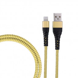 1m Nylon Braided 8pin Charge Cable Durable iPhone Charger Cable - Gold