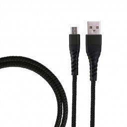 1m Nylon Braided Micro USB Charge Cable Durable Android Charger Cable for Samsung Huawei Phones - Black