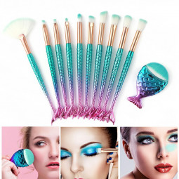 11 pcs Mermaid Makeup Brushes Set Fish Tail Foundation Eyeshadow Eyeliner Cosmetic Brush