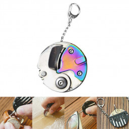 Outdoor Multi Function Folding Screwdriver Plier Cutter Coin Screwdriver Keychain Combo - Color Titanium