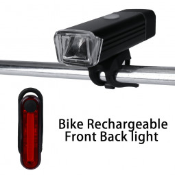 Bright 1200 Lumen USB Rechargeable Mountain Cycle Bike Bicycle Headlight Front Lamp Back Light Set