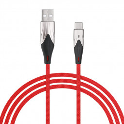 1m Soft and Durable Fabric Braided Type C USB 3.1 Charging Cable Quick Charger Wire - Red