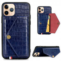 Protective Wallet Card Case Crocodile Leather Shockproof Flip Phone Cover for iPhone 11 Pro - Blue