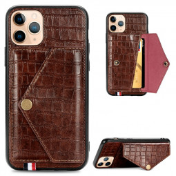 Crocodile Pattern Leather Wallet Case with Card Slot Flip Phone Cover for iPhone 11 Pro Max - Brown