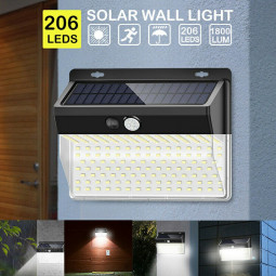 206 LEDs Solar Lamp with Motion Detector Flood Light Outdoor Waterproof Wall Light