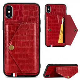 Leather Back Case Crocodile Pattern with Stand Holder Card Slot Protective Cover for iPhone X iPhone XS - Red