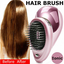Portable Electric Ionic Hairbrush Takeout Mini Ion Hair Brush Comb Massage - Pink