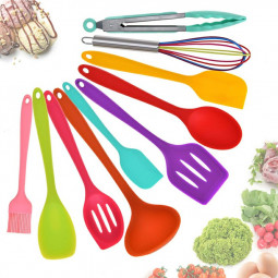 10 pcs Silicone Heat Resistant Kitchen Cooking Utensils Non-stick Baking Tool Tongs ladle Gadget - Colorful