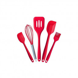 5 Pieces Non-stick Silicone Baking Set Kitchen Spatula Slotted Turner Cooking Utensils