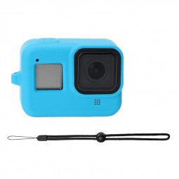 Silicone Anti-shock Protective Case Shockproof Cover with Wrist Strap for GoPro HERO 8 - Blue