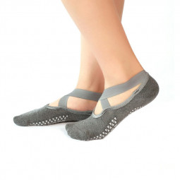 Women Pilates Barre Yoga Socks with Non-slip Grip for Ballet Dance Sport Fitness - Grey
