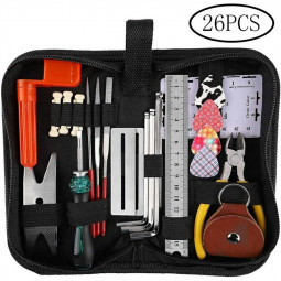 26 pcs Guitar Repairing Tool Kit of Guitar Winder Wire Plier String Organizer Fingerboard Protector String Ruler
