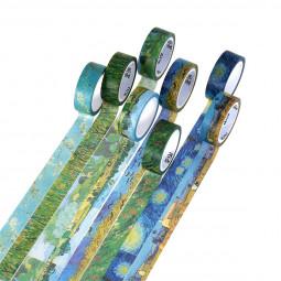 8pcs Washi Tapes Van Gogh Painting Paper Masking Tape Decorative Self Adhesive DIY Tapes Scrapbooking Stickers